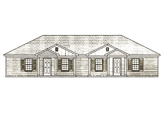 Front view drawings for the two bedroom vintage hill apartments in Martin, Tennessee